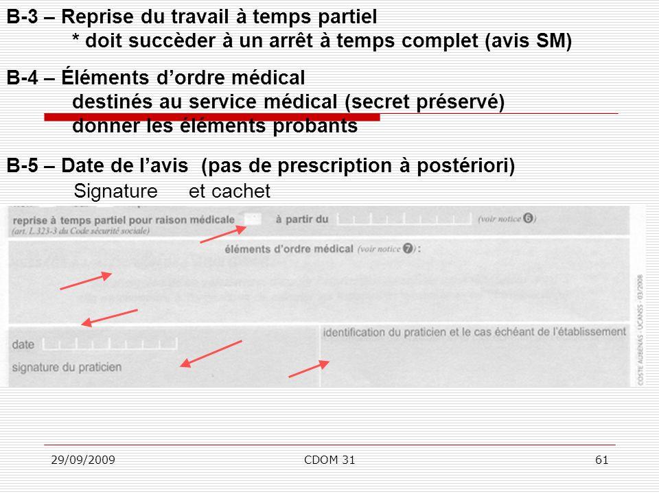 29/09/2009CDOM 3161 B-3 – Reprise du travail à temps partiel * doit succèder à un arrêt à temps complet (avis SM) B-4 – Éléments dordre médical destin