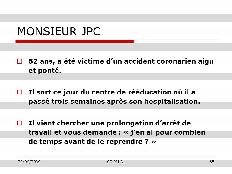 29/09/2009CDOM 3165 MONSIEUR JPC 52 ans, a été victime dun accident coronarien aigu et ponté. Il sort ce jour du centre de rééducation où il a passé t