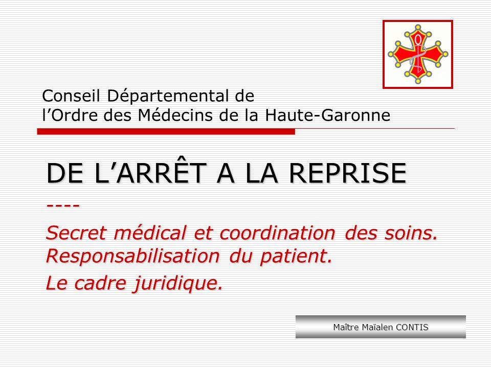 Conseil Départemental de lOrdre des Médecins de la Haute-Garonne DE LARRÊT A LA REPRISE ---- Secret médical et coordination des soins. Responsabilisat