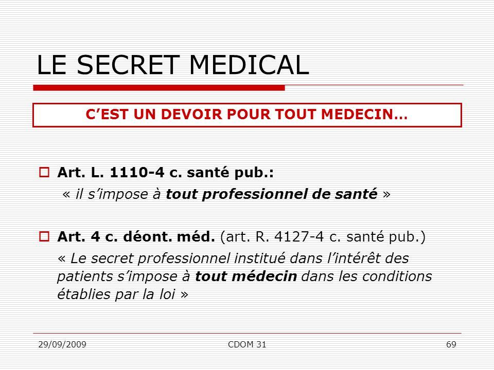 29/09/2009CDOM 3169 Art. L. 1110-4 c. santé pub.: « il simpose à tout professionnel de santé » Art. 4 c. déont. méd. (art. R. 4127-4 c. santé pub.) «