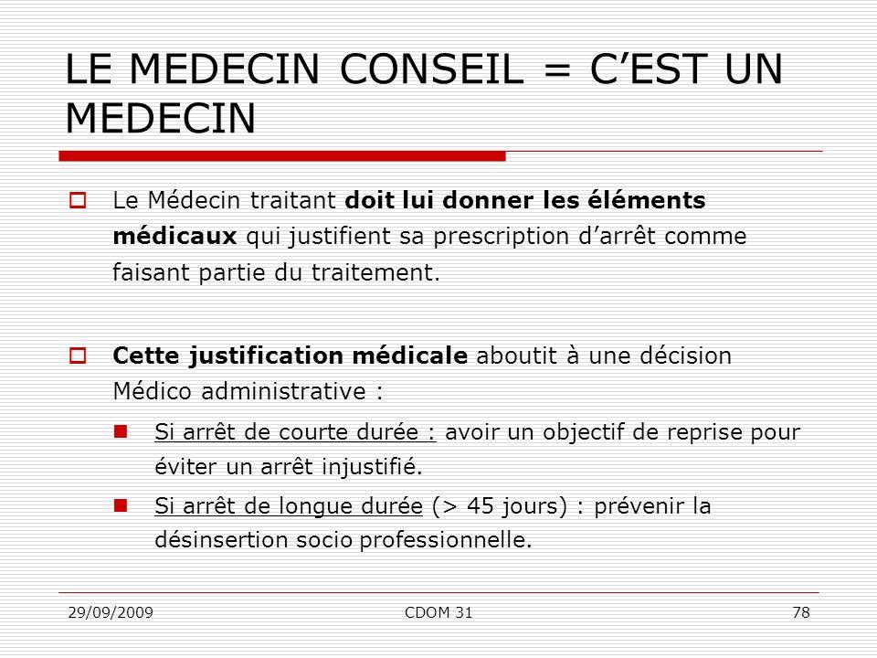 29/09/2009CDOM 3178 LE MEDECIN CONSEIL = CEST UN MEDECIN Le Médecin traitant doit lui donner les éléments médicaux qui justifient sa prescription darr