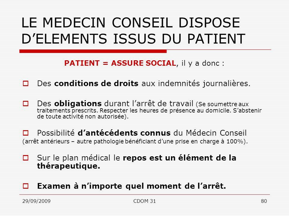 29/09/2009CDOM 3180 LE MEDECIN CONSEIL DISPOSE DELEMENTS ISSUS DU PATIENT PATIENT = ASSURE SOCIAL, il y a donc : Des conditions de droits aux indemnit