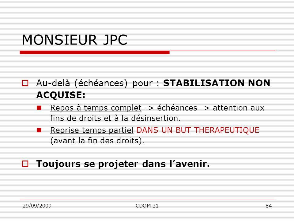 29/09/2009CDOM 3184 MONSIEUR JPC Au-delà (échéances) pour : STABILISATION NON ACQUISE: Repos à temps complet -> échéances -> attention aux fins de dro