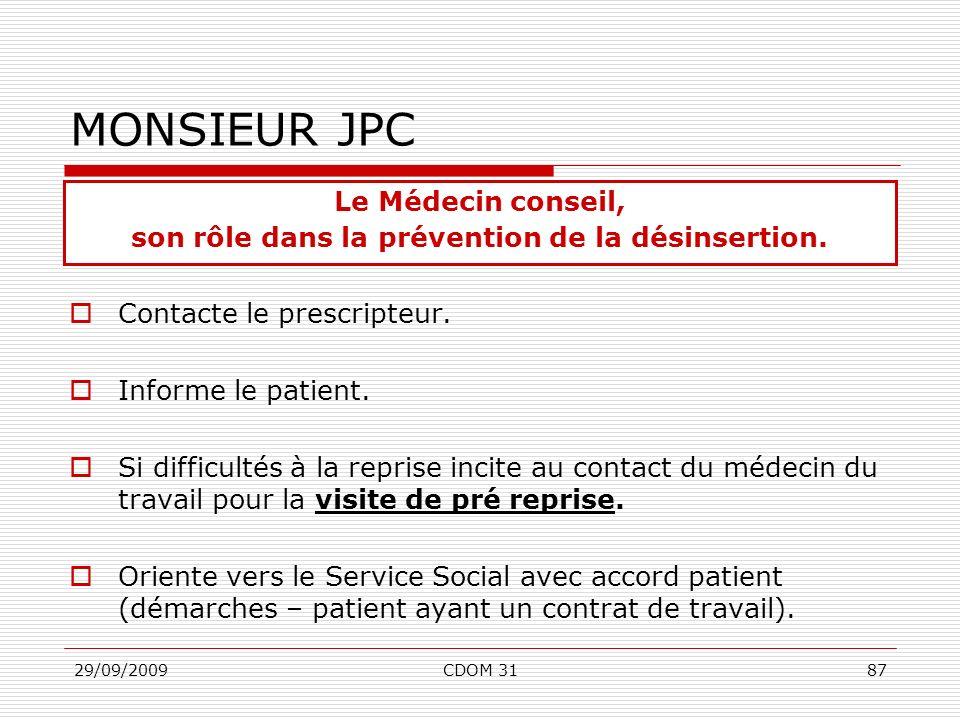 29/09/2009CDOM 3187 MONSIEUR JPC Contacte le prescripteur. Informe le patient. Si difficultés à la reprise incite au contact du médecin du travail pou