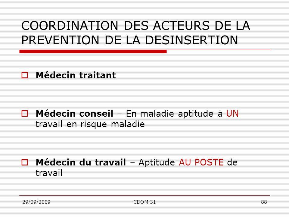 29/09/2009CDOM 3188 COORDINATION DES ACTEURS DE LA PREVENTION DE LA DESINSERTION Médecin traitant Médecin conseil – En maladie aptitude à UN travail e