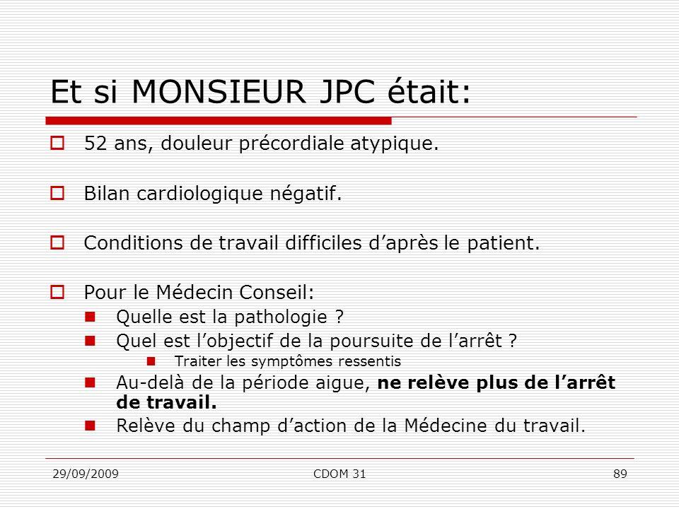 29/09/2009CDOM 3189 Et si MONSIEUR JPC était: 52 ans, douleur précordiale atypique. Bilan cardiologique négatif. Conditions de travail difficiles dapr