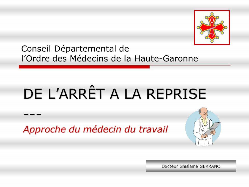 Conseil Départemental de lOrdre des Médecins de la Haute-Garonne DE LARRÊT A LA REPRISE --- Approche du médecin du travail Docteur Ghislaine SERRANO