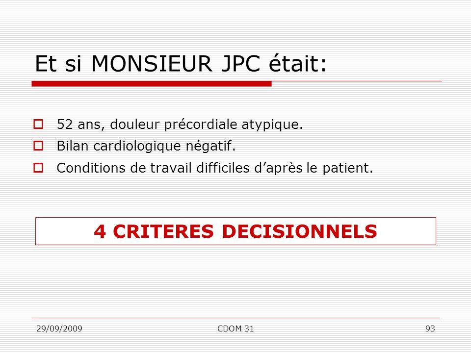 29/09/2009CDOM 3193 Et si MONSIEUR JPC était: 52 ans, douleur précordiale atypique. Bilan cardiologique négatif. Conditions de travail difficiles dapr