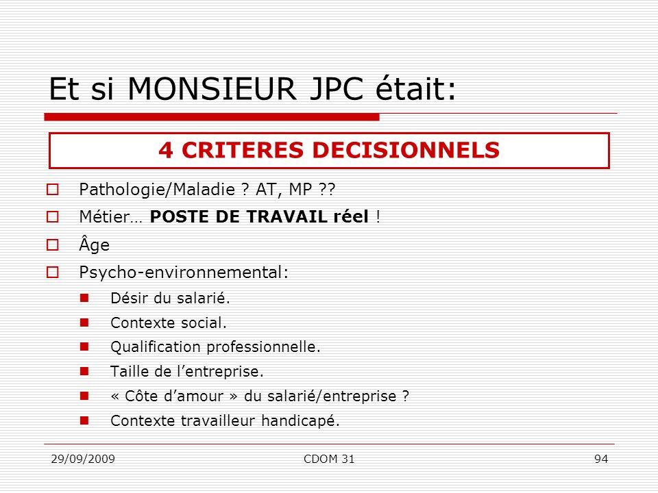 29/09/2009CDOM 3194 Et si MONSIEUR JPC était: Pathologie/Maladie ? AT, MP ?? Métier… POSTE DE TRAVAIL réel ! Âge Psycho-environnemental: Désir du sala
