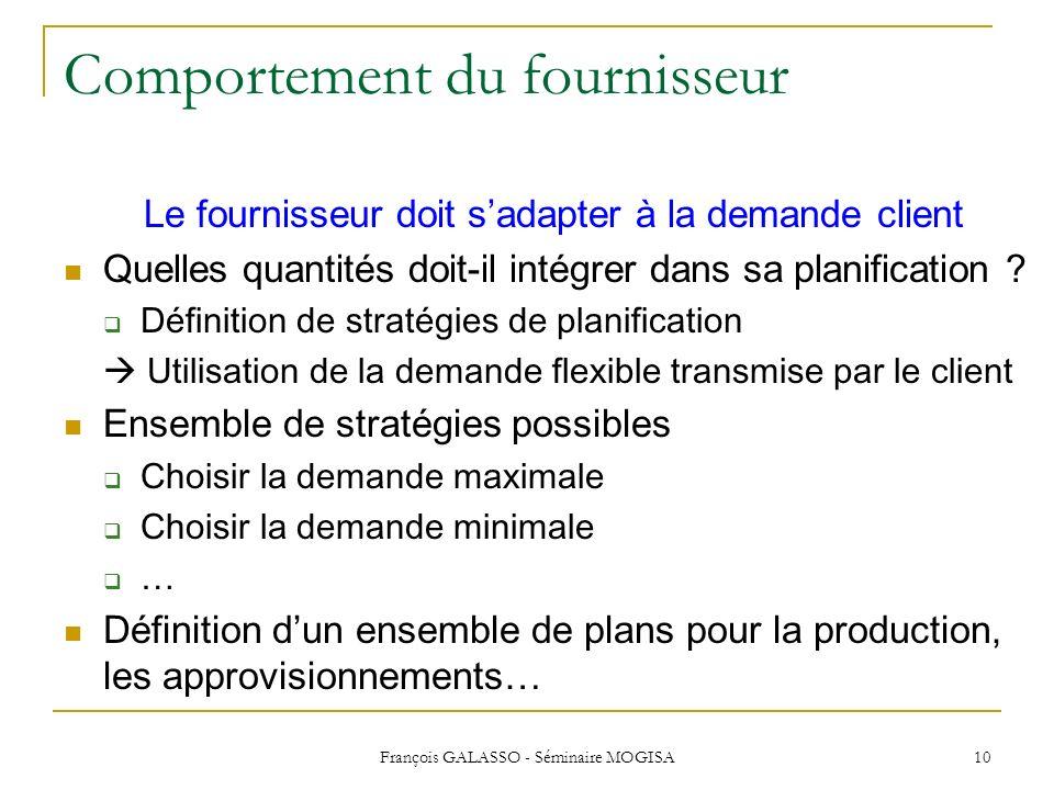François GALASSO - Séminaire MOGISA 10 Comportement du fournisseur Le fournisseur doit sadapter à la demande client Quelles quantités doit-il intégrer