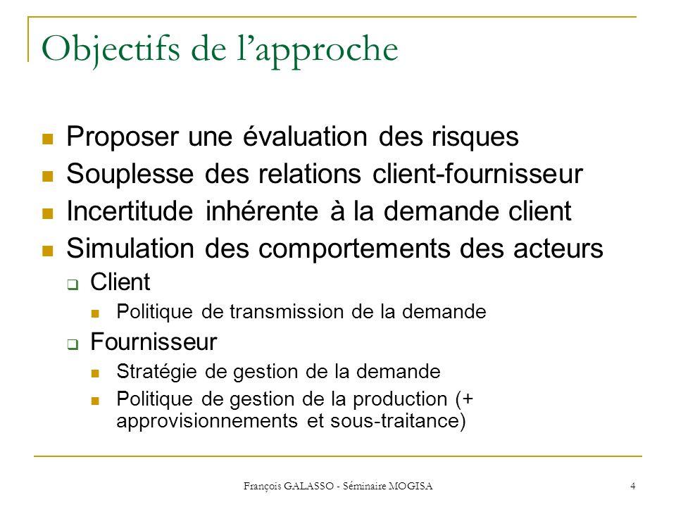 François GALASSO - Séminaire MOGISA 4 Objectifs de lapproche Proposer une évaluation des risques Souplesse des relations client-fournisseur Incertitud