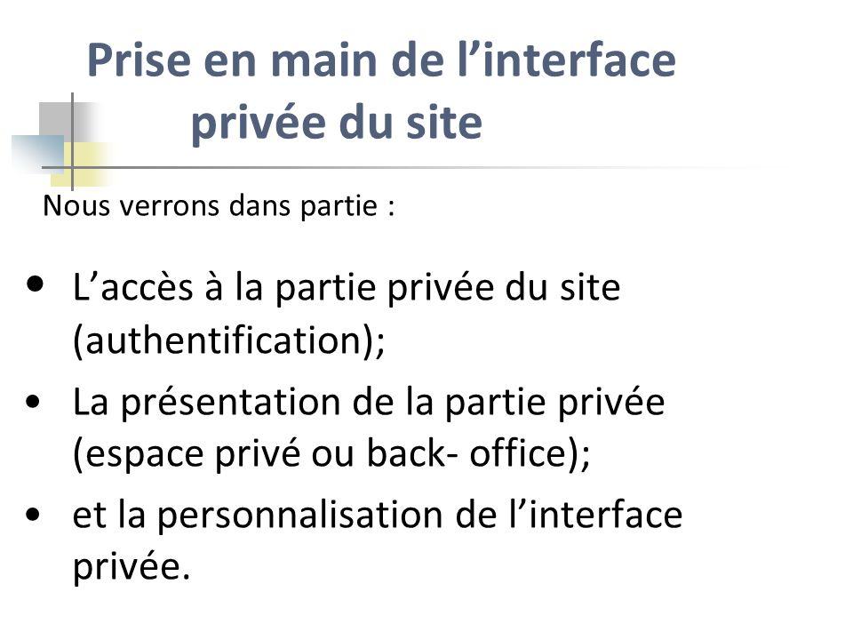 Prise en main de linterface privée du site Laccès à la partie privée du site (authentification); La présentation de la partie privée (espace privé ou