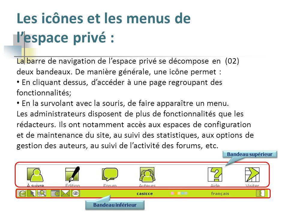 La barre de navigation de lespace privé se décompose en (02) deux bandeaux. De manière générale, une icône permet : En cliquant dessus, daccéder à une