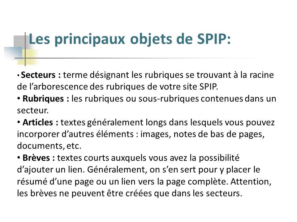 Les principaux objets de SPIP: Secteurs : terme désignant les rubriques se trouvant à la racine de larborescence des rubriques de votre site SPIP. Rub