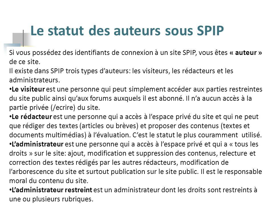 Le statut des auteurs sous SPIP Si vous possédez des identifiants de connexion à un site SPIP, vous êtes « auteur » de ce site. Il existe dans SPIP tr