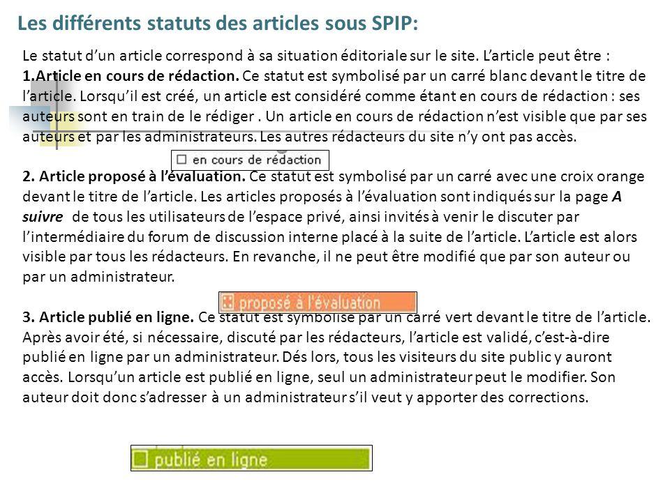 Les différents statuts des articles sous SPIP: Le statut dun article correspond à sa situation éditoriale sur le site. Larticle peut être : 1.Article