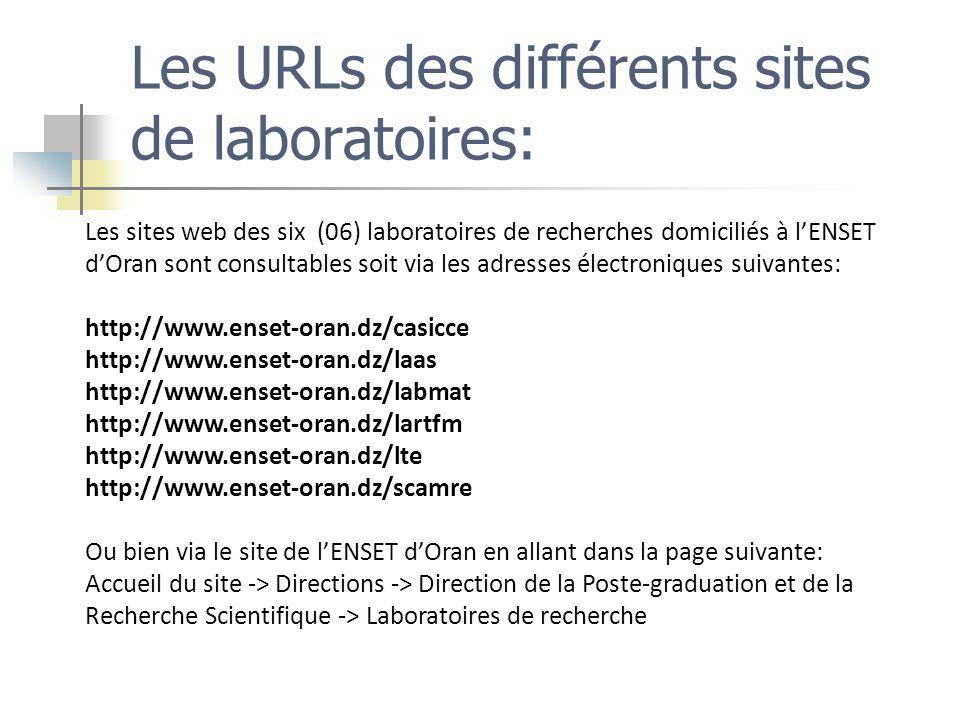 Les URLs des différents sites de laboratoires: Les sites web des six (06) laboratoires de recherches domiciliés à lENSET dOran sont consultables soit