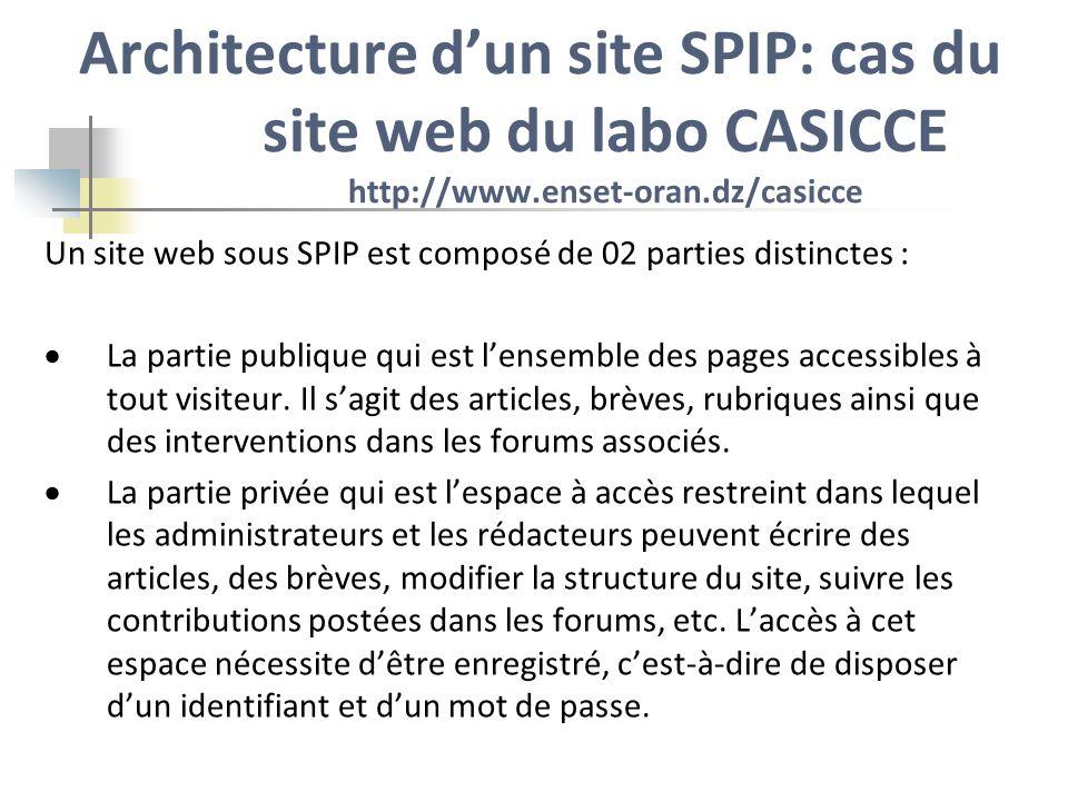 Architecture dun site SPIP: cas du site web du labo CASICCE 1.Partie publique: Cest la partie consultable par tous les internautes.