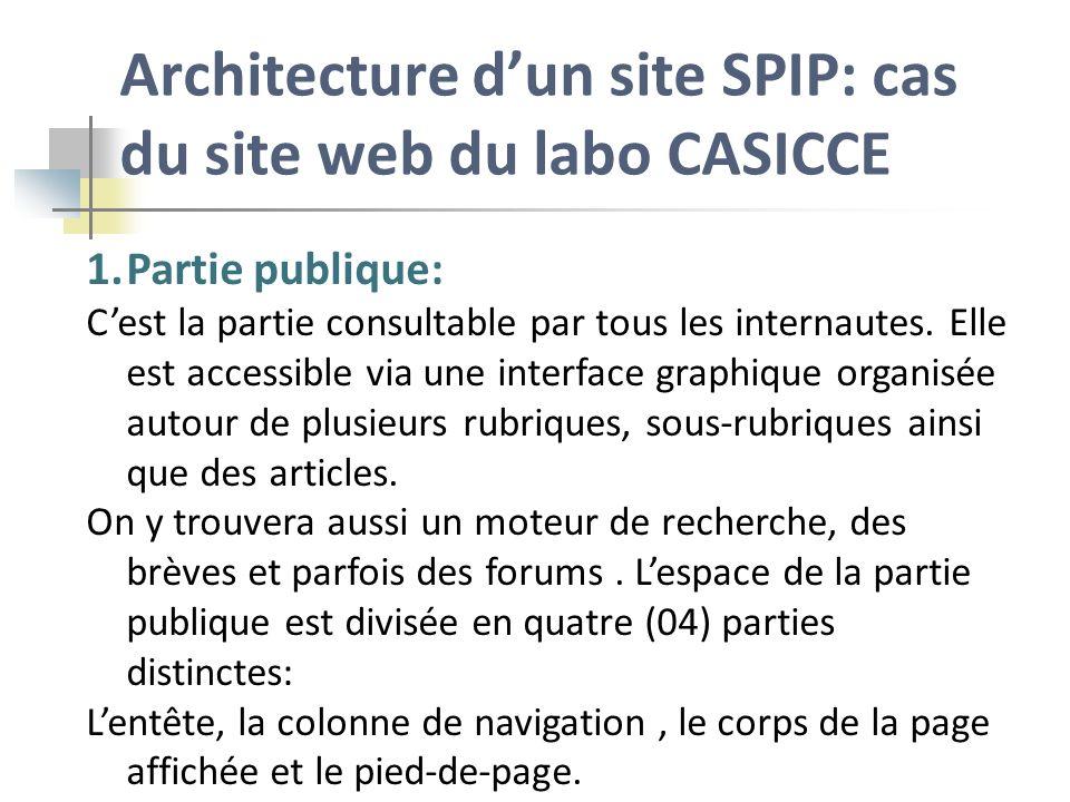 Architecture dun site SPIP: cas du site web du labo CASICCE 1.Partie publique: Cest la partie consultable par tous les internautes. Elle est accessibl