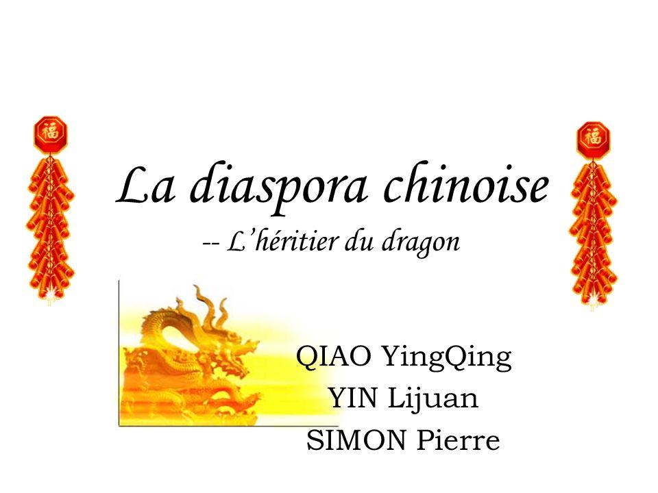 Sommaire Introduction Générale –Définition dun chinois de la diaspora –Historique de la diaspora chinoise –La répartition géographique –Ses caractéristiques La diaspora chinoise dans le monde –En Asie –Dans Américain: Etats-Unis –En Europe: La France Le nouvelle tendance de la diaspora chinoise et son rôle dans le développement économique en Chine
