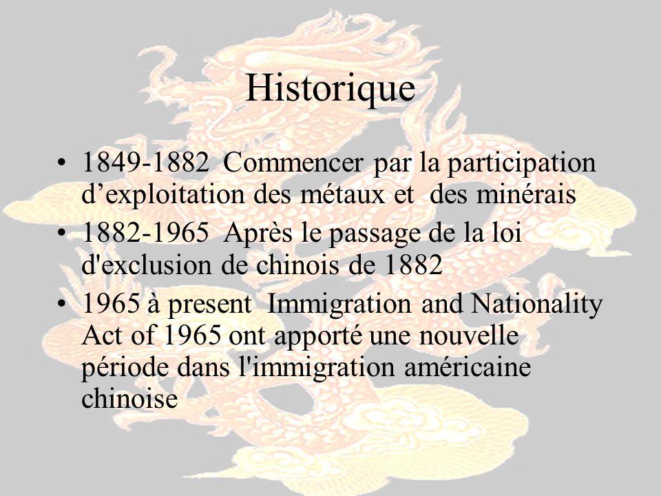 Historique 1849-1882 Commencer par la participation dexploitation des métaux et des minérais 1882-1965 Après le passage de la loi d'exclusion de chino