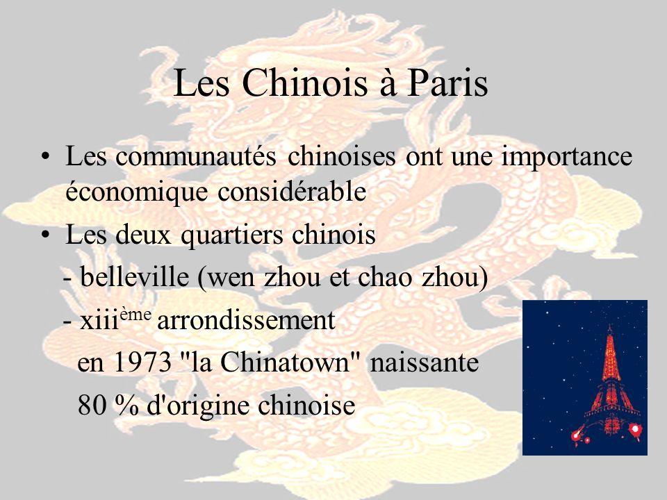 Les Chinois à Paris Les communautés chinoises ont une importance économique considérable Les deux quartiers chinois - belleville (wen zhou et chao zho