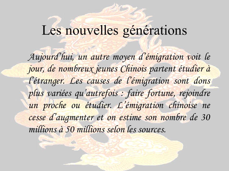 Les nouvelles générations Aujourdhui, un autre moyen démigration voit le jour, de nombreux jeunes Chinois partent étudier à létranger. Les causes de l