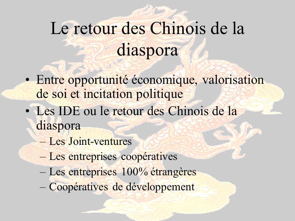 Le retour des Chinois de la diaspora Entre opportunité économique, valorisation de soi et incitation politique Les IDE ou le retour des Chinois de la