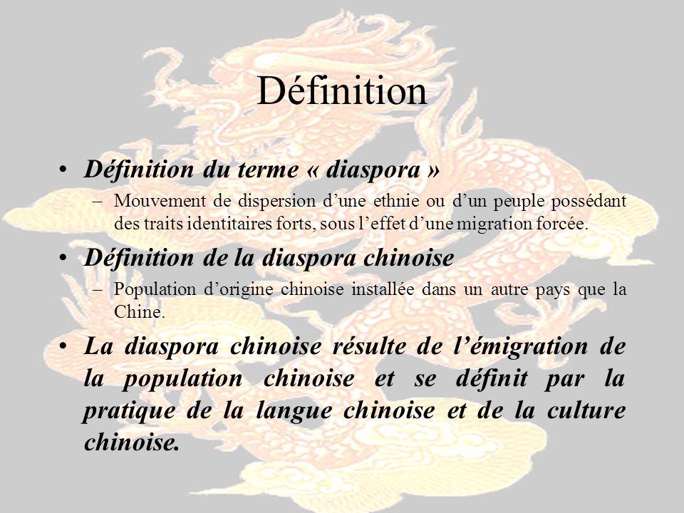 Historiques Quatre périodes –Avant 1840 - Guerre de lOpium Avant 1 è re Chr é tienne Le 3 è me Si è cle, sous le Dynastie Han dans l histoire de la Chine Entre 618 et 907, sous la dynastie Tang Sous la dynastie Ming (1368-1644) Au16 è me Si è cle, sous la Dynastie Qing –1840 – 1949 Invasion étrangère et létablissement de République Populaire de la Chine 1840, la Guerre de l Opium 1937, l invasion japonaise en Asie –1950-1979 Le gouvernement limite lémigration La Grande R é volution culturelle –1980-Aujourdhui Une ouverture vers lextérieur