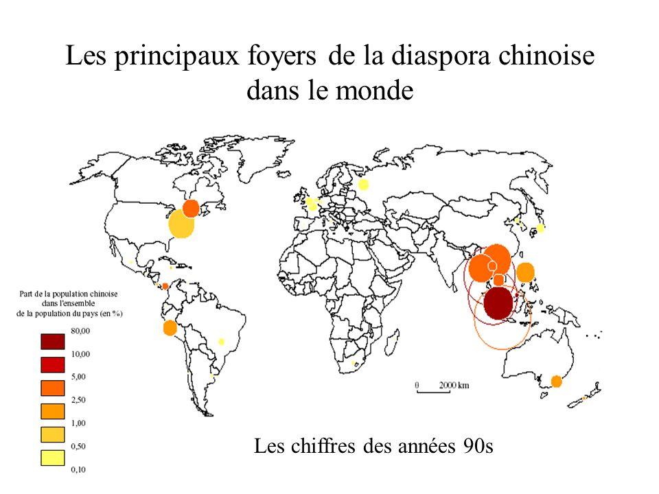 Les principaux foyers de la diaspora chinoise dans le monde Les chiffres des années 90s