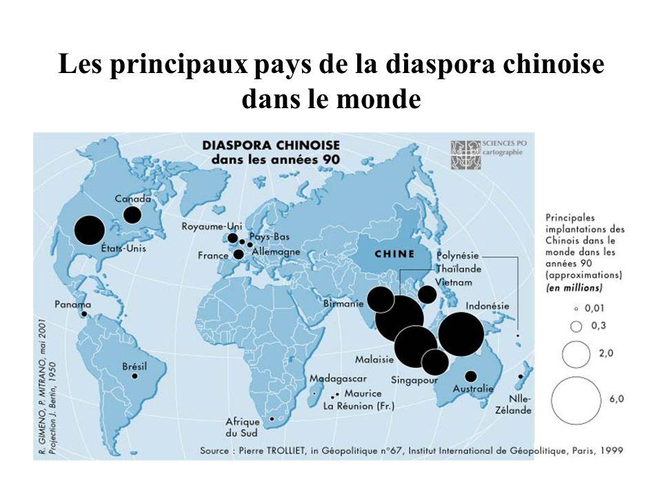 Les principaux pays de la diaspora chinoise dans le monde