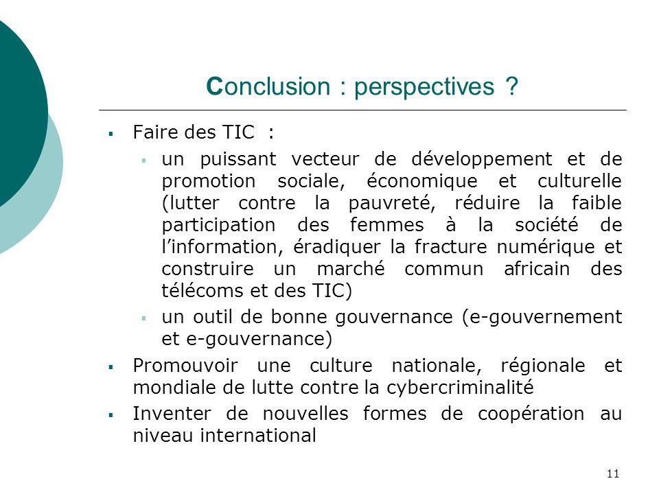 11 Conclusion : perspectives ? Faire des TIC : un puissant vecteur de développement et de promotion sociale, économique et culturelle (lutter contre l