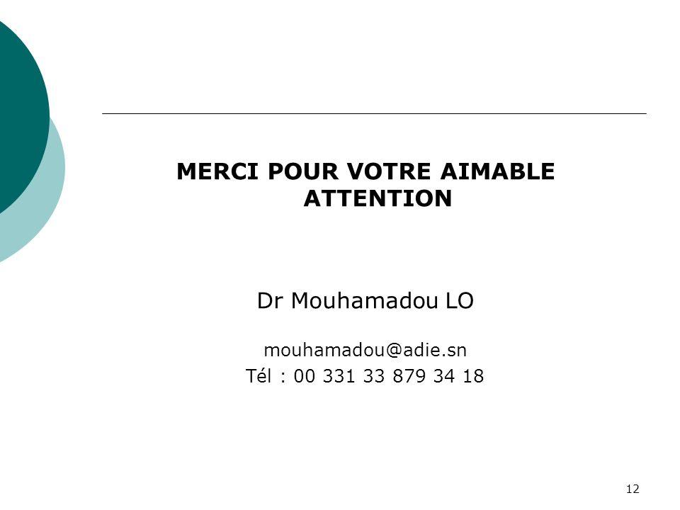 12 MERCI POUR VOTRE AIMABLE ATTENTION Dr Mouhamadou LO mouhamadou@adie.sn Tél : 00 331 33 879 34 18