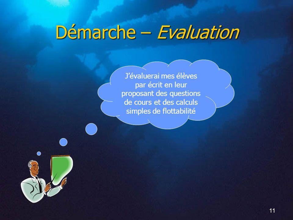 11 Démarche – Evaluation Jévaluerai mes élèves par écrit en leur proposant des questions de cours et des calculs simples de flottabilité