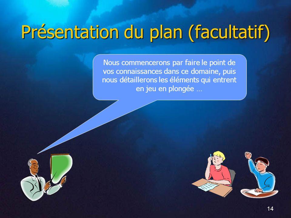 14 Présentation du plan (facultatif) Nous commencerons par faire le point de vos connaissances dans ce domaine, puis nous détaillerons les éléments qu