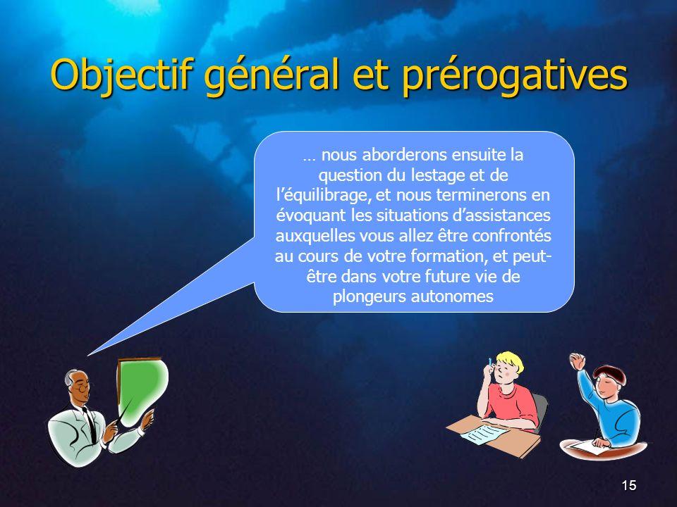 15 Objectif général et prérogatives … nous aborderons ensuite la question du lestage et de léquilibrage, et nous terminerons en évoquant les situation