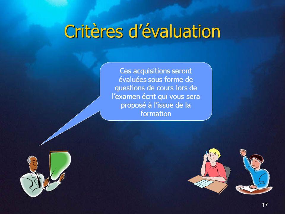 17 Critères dévaluation Ces acquisitions seront évaluées sous forme de questions de cours lors de lexamen écrit qui vous sera proposé à lissue de la f