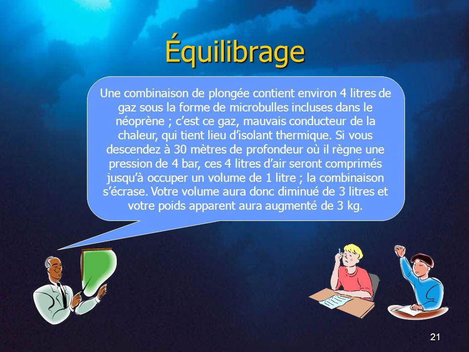 21 Équilibrage Une combinaison de plongée contient environ 4 litres de gaz sous la forme de microbulles incluses dans le néoprène ; cest ce gaz, mauva