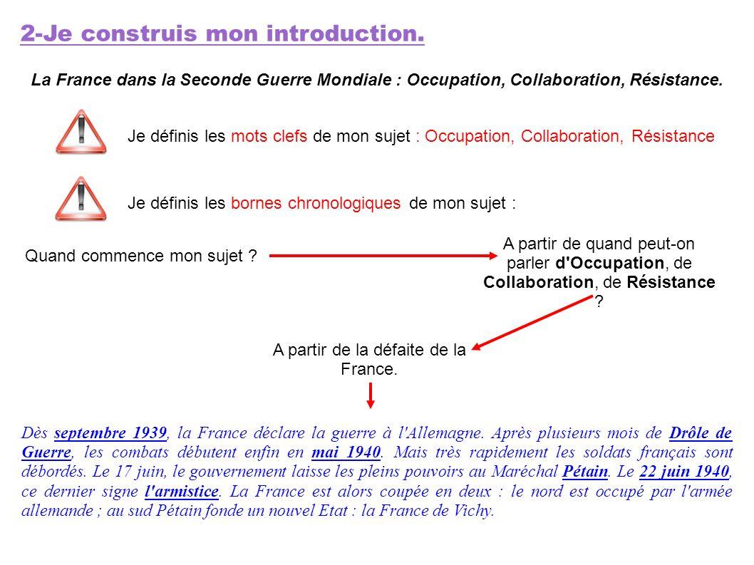 2-Je construis mon introduction. La France dans la Seconde Guerre Mondiale : Occupation, Collaboration, Résistance. Je définis les mots clefs de mon s