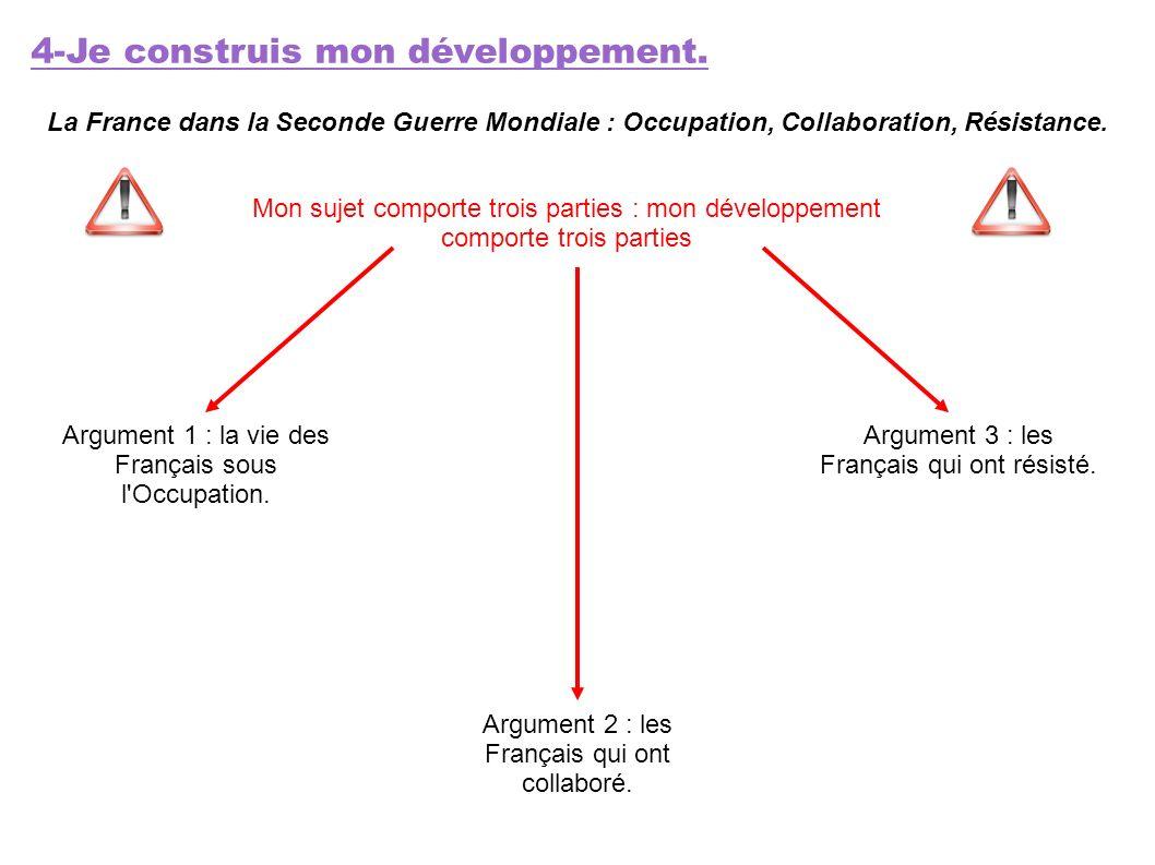 4-Je construis mon développement. La France dans la Seconde Guerre Mondiale : Occupation, Collaboration, Résistance. Mon sujet comporte trois parties