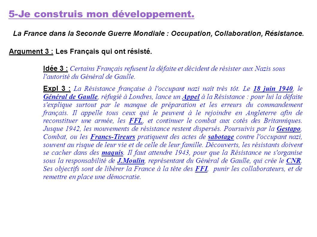 5-Je construis mon développement. La France dans la Seconde Guerre Mondiale : Occupation, Collaboration, Résistance. Argument 3 : Les Français qui ont