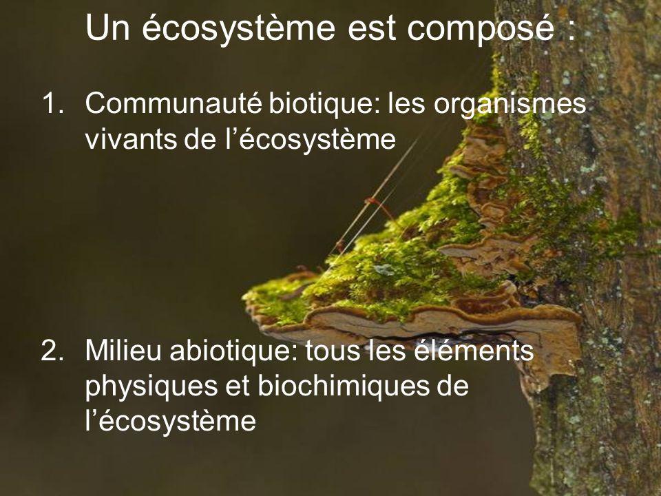 Un écosystème est composé : 1.Communauté biotique: les organismes vivants de lécosystème 2.Milieu abiotique: tous les éléments physiques et biochimiqu
