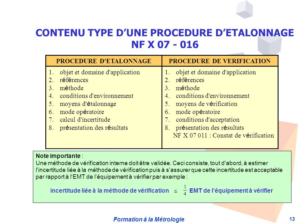 Formation à la Métrologie 13 PROCEDURE D'ETALONNAGEPROCEDURE DE VERIFICATION 1.objet et domaine d'application 2.r é f é rences 3.m é thode 4.condition