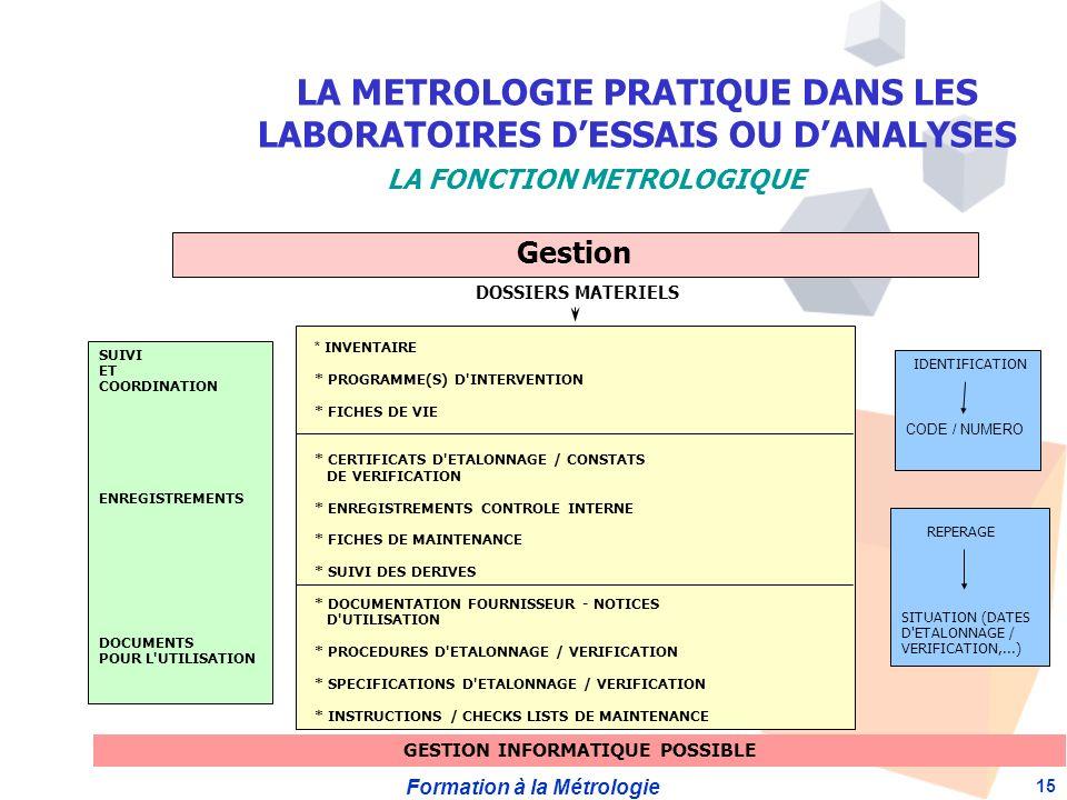 Formation à la Métrologie 15 Gestion SUIVI ET COORDINATION ENREGISTREMENTS DOCUMENTS POUR L UTILISATION DOSSIERS MATERIELS * INVENTAIRE * PROGRAMME(S) D INTERVENTION * FICHES DE VIE * CERTIFICATS D ETALONNAGE / CONSTATS DE VERIFICATION * ENREGISTREMENTS CONTROLE INTERNE * FICHES DE MAINTENANCE * SUIVI DES DERIVES * DOCUMENTATION FOURNISSEUR - NOTICES D UTILISATION * PROCEDURES D ETALONNAGE / VERIFICATION * SPECIFICATIONS D ETALONNAGE / VERIFICATION * INSTRUCTIONS / CHECKS LISTS DE MAINTENANCE IDENTIFICATION CODE / NUMERO REPERAGE SITUATION (DATES D ETALONNAGE / VERIFICATION,...) GESTION INFORMATIQUE POSSIBLE LA METROLOGIE PRATIQUE DANS LES LABORATOIRES DESSAIS OU DANALYSES LA FONCTION METROLOGIQUE
