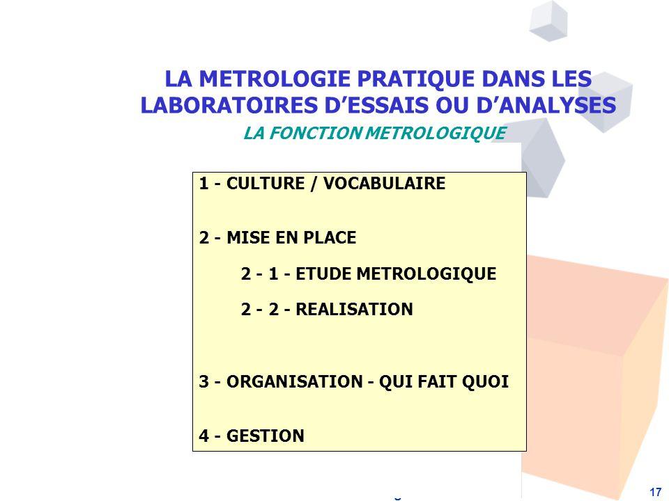 Formation à la Métrologie 17 1 - CULTURE / VOCABULAIRE 2 - MISE EN PLACE 2 - 1 - ETUDE METROLOGIQUE 2 - 2 - REALISATION 3 - ORGANISATION - QUI FAIT QUOI 4 - GESTION LA METROLOGIE PRATIQUE DANS LES LABORATOIRES DESSAIS OU DANALYSES LA FONCTION METROLOGIQUE