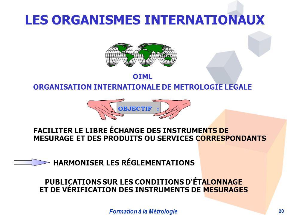 Formation à la Métrologie 20 OIML ORGANISATION INTERNATIONALE DE METROLOGIE LEGALE OBJECTIF : FACILITER LE LIBRE ÉCHANGE DES INSTRUMENTS DE MESURAGE ET DES PRODUITS OU SERVICES CORRESPONDANTS HARMONISER LES RÉGLEMENTATIONS PUBLICATIONS SUR LES CONDITIONS DÉTALONNAGE ET DE VÉRIFICATION DES INSTRUMENTS DE MESURAGES LES ORGANISMES INTERNATIONAUX