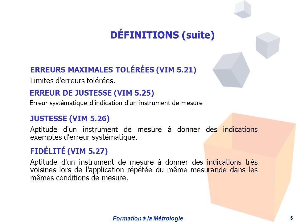 Formation à la Métrologie 5 ERREURS MAXIMALES TOLÉRÉES (VIM 5.21) Limites d erreurs tolérées.