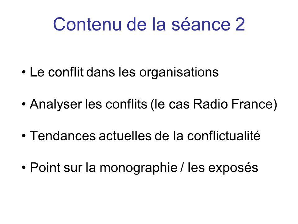 Le conflit dans les organisations Analyser les conflits (le cas Radio France) Tendances actuelles de la conflictualité Point sur la monographie / les