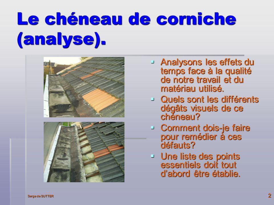 Serge de SUTTER 2 Le chéneau de corniche (analyse).