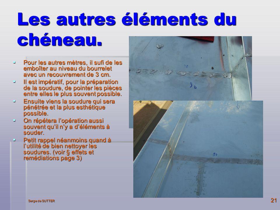 Serge de SUTTER 21 Les autres éléments du chéneau.